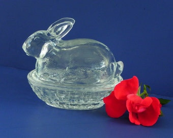 Glass Bunny Basket. Rabbit on Basket Dish. Covered Candy Dish.
