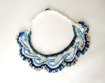 White and Blue necklace, crochet  beaded chunky necklace