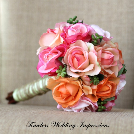 Coral And Pink Wedding Flowers: Items Similar To Coral Bouquet Pink Peach Mint Bridal