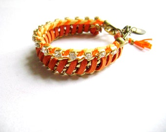 Orange faux suede rhinestones stacking bohemian bracelets - Gleam - trendy and summer yellow suede stacking friendship bracelets