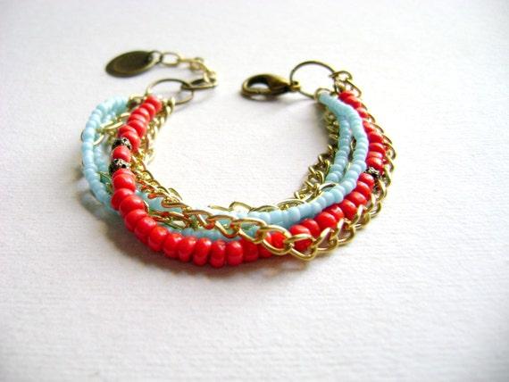 Indie style - bohemian stacking bracelet boho chic red turquoise bracelet - boho jewelry - Gypsy