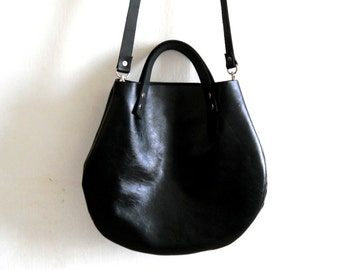 Black  Leather basket hand bag ,Cross-body Bag, Every day leather bag- Glossy finish
