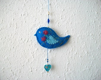 Felt Ornament Blue Bird Wall or Tree Hanging with Lampwork Glass Heart Hand Embroidered