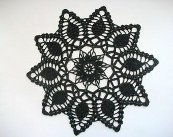 Crochet Doily Black Cotton Lace Medium Center Piece Heirloom Quality