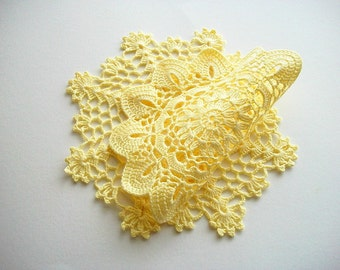 Yellow Doily Set Cotton Crochet Lace Summer Decoration Heirloom Quality 2 Pieces
