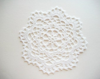 Crochet Doily White Cotton Lace with Picot Edge Heirloom Quality