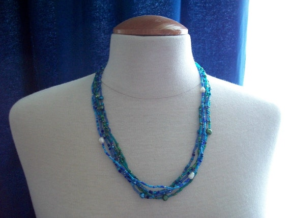 Multistrand Beaded Necklace or Choker with Baroc Fresh Water Pearls
