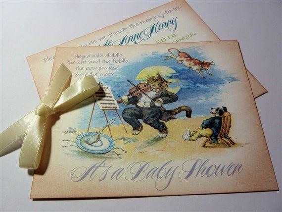 Baby shower invitation vintage storybook themed set of 10 filmwisefo