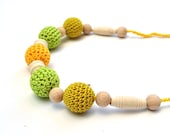 On sale Nursing Crochet necklace for Mother - wood and crochet beads  colors  green, orange, yellow, st patricks day