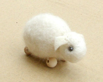 Tiny Felt Sheep - needle felted wool toy