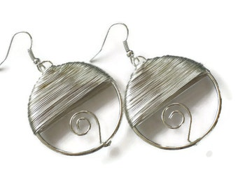 Silver Wire Wrapped Hoop Earrings, Gifts for Women Mom Wife Sister Daughter Grandma Teacher Under 20, Stocking Stuffers