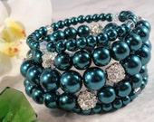 Blue Pearl Bangle Bracelet, Rhinestones, Multi-sized Pearls, Five Bands Memory Wire