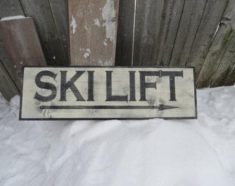 Large Hand Painted Rustic Ski Lift Wood Sign  Primitive Vintage look 3ft x 1ft Ski Decor, Lodge Sign, Ski Sign, Skiing Sign, Cabin Decor