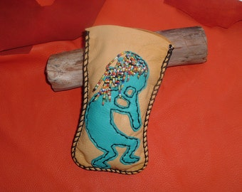 Sale!!! was 55.00 now 45.00 Eye glass / Sun glasses Deerskin leather case or bag with a Kokopelli design on the front