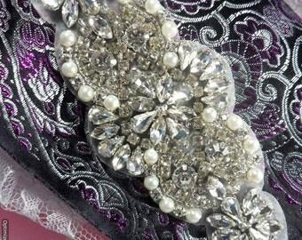 """XR249 Bridal Motif Silver Crystal Clear Rhinestone Applique w/ Pearls 6"""" (XR249-slcrp)"""