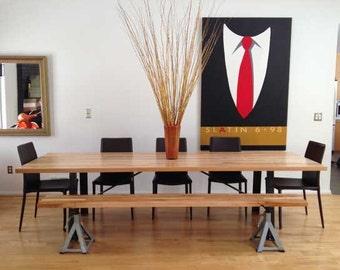 8' Industrial dining table Butcher block top