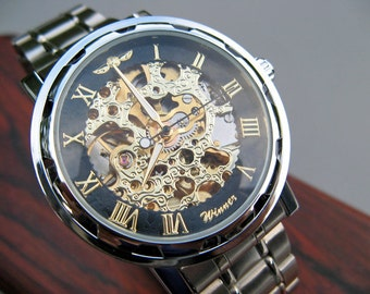 Steampunk Mechanical Wrist Watch, Stainless Steel Watch Band - Automatic Watch - Groomsmen Gift - Watch - Item MWA4008