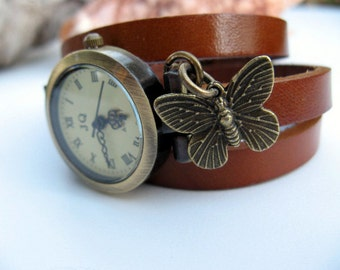 Sale - Wrap Around Chocolate Brown & Taupe Leather Wrap Watch - Leather Bronze Wrist Watch - Butterfly Charm - Watch