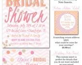 Coral Cantaloupe Confetti Bridal Shower Invitations, Inserts, Envelopes
