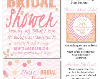 Coral Cantaloupe Confetti Bridal Shower Invitations, Inserts, Envelopes