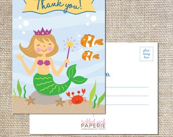 Thank you postcards to match your cute little mermaid party