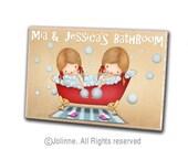 Kids bathroom sign, door sign, girls bath, children plaque, personalized gift, sisters bathroom, kids bathroom decor, personalized bath sign