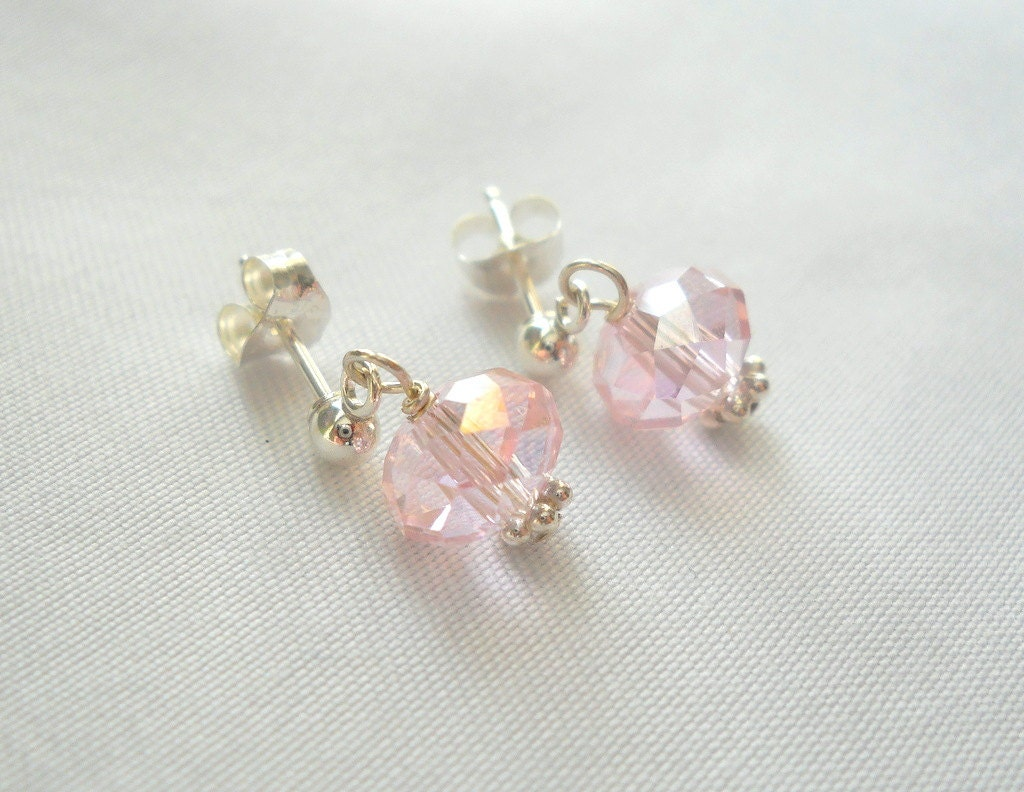 little girls earrings flower girl jewelry crystal and sterling. Black Bedroom Furniture Sets. Home Design Ideas