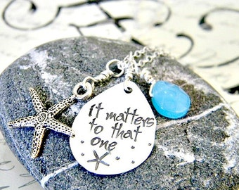 starfish necklace - starfish story -hand stamped -  sterling silver - teacher gift  - adoption - beach  - coastal