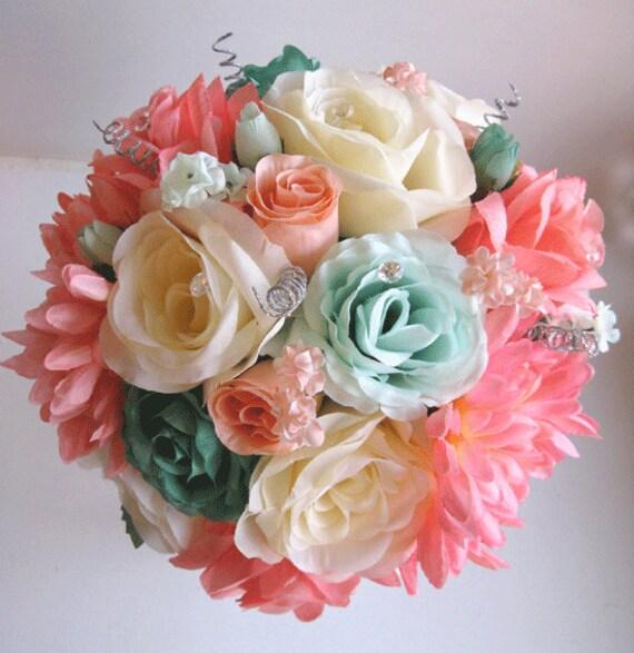 Mint Wedding Flowers: Wedding Bouquet Bridal Silk Flower CORAL TEAL By