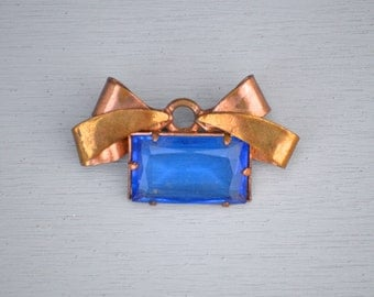 Antique Bow Pin Brooch As-Is - Faceted Blue Glass