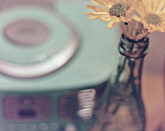 flower photography, yellow daisies, aqua vintage radio, 50s, retro, still life, turquoise, Robin's Egg blue, from 35mm film, 8x12