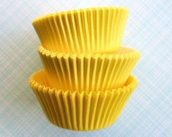 Yellow Cupcake Liners - Designer Greaseproof Baking Cups (50) - Yellow Baking Cups - Sun Yellow Cupcake Liners