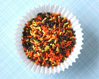 Fall / Autumn Jimmies or Sprinkles for Decorating Cupcakes, Cookies and Cakes (4 ounces)