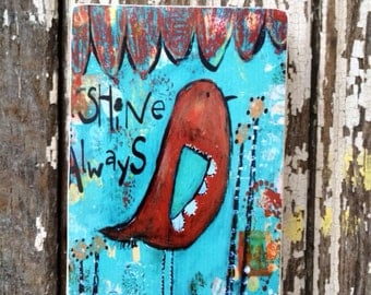 bird art block,shine always,ACEO  Reproduction Mounted On Wood Block by Sunshine Girl Designs (2.5 x 3.5 Inches Print)