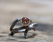 Silver Gold Branch Peach CZ Engagement Ring - Sparkle Bark - NangijalaJewelry