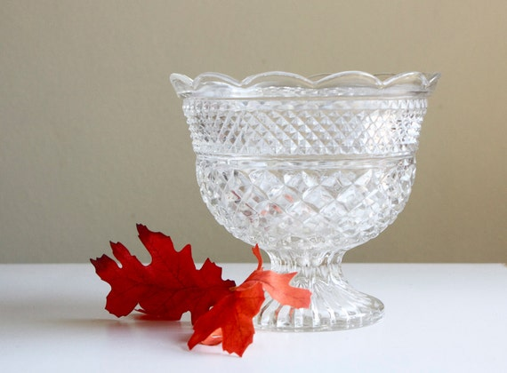 Centerpiece Bowl, Vase, Wexford, Anchor Hocking Glass, Large Glass Bowl, Mid Century Modern Glass, Diamond Pattern, Local Pickup Available
