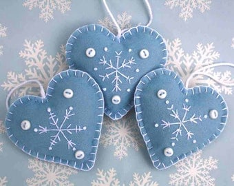 Felt Christmas heart ornaments, Handmade snowflake ornaments, Scandinavian style heart decorations, Blue and white Christmas ornaments.