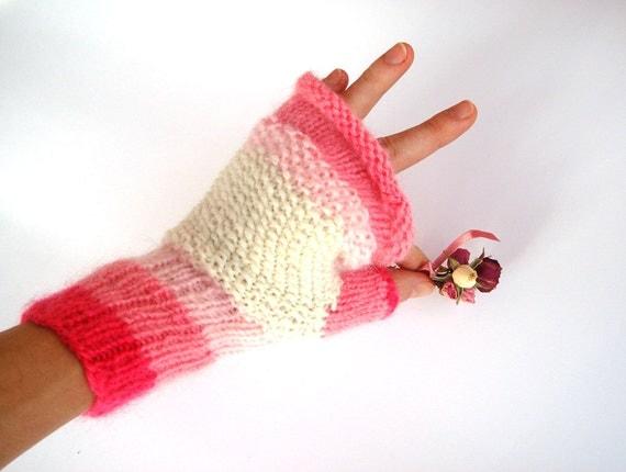 Pink fingerless gloves, winter accessory, pink mittens