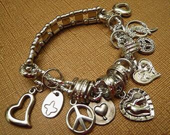 Heart Charm Love Peace Sweetheart Love Bracelet