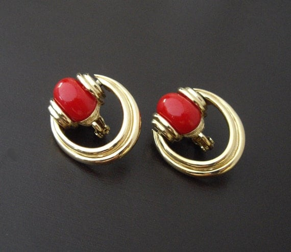Red Givenchy Chandelier Earrings: Vintage Givenchy Red Door Knocker Earrings Designer Earrings