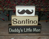 Personalized Daddy's Little Man..Our Little Man Three Piece Primitive Mustache Stacker Boys Room Decor Birthday Centerpiece Cute