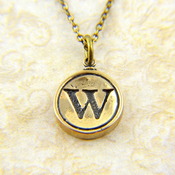 Letter W Necklace - Bronze Initial Typewriter Key Charm Necklace - Gwen Delicious Jewelry Design GDJ
