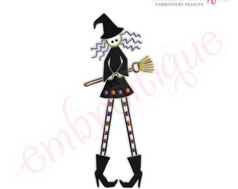 Halloween Tall Witch - Instant Download -Digital Machine Embroidery Design