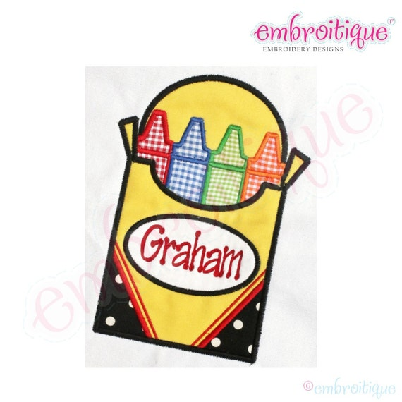 Back to School Box of Crayons Applique - Plain or with Name Frame-Instant Download -Digital Machine Embroidery Design