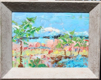 PALMS At The Shore  Great Price Rustic Framed ABSTRACT OIL Painting Signed 16 x 20