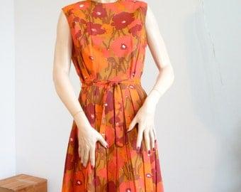 Vintage Dress 1960s Orange, Gold, Yellow Crepe Pleats