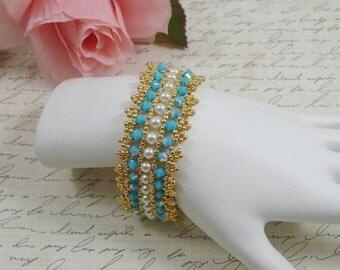 Woven Bracelet Swarovski Crystal Turquoise AB