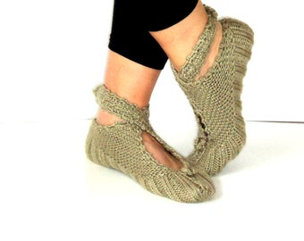 Reseda Green Slippers, Wool Slippers, Ballerina Slippers, House Slippers