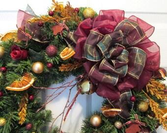 Christmas Wreath Dried Oranges Cinnamon Ornaments Burgundy Green Gold