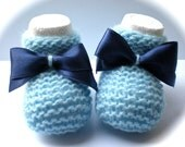 SALE - Babyblue Booties with Blue Satin Bows